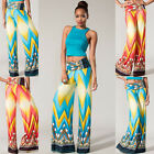 SEXY ! Women Large Chevron Printed Palazzo Pants Fold Over Waist  Blue Coral