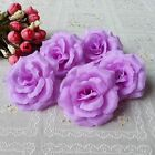 5XBig Roses Artificial Silk Flower Heads Wholesale Lots Wedding Decor Hair Clips