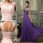 NEW  V-Back Lace Masquerade Ball Gown Wedding Evening Prom Party Long Maxi Dress