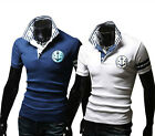 LO Brand New Mens Embroidery Collar Cultivating Short-Sleeved T-Shirt POLO USSL