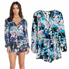 2015 BoHEMIA Women 3/4 Sleeves Floral print V neck Overalls Jumpsuit Playsuits