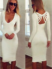 HOT Celeb Key Open Front Womens Long Sleeve Bodycon Pencil Evening Party Dress