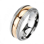 Mens Wedding Band Ring Two Tone Titanium Anniversary Rose Gold Plated