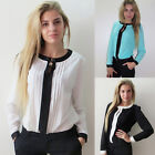 HOT OL Women's Long Sleeve Chiffon Blouses Bodysuit  Vintage Classic Shirt Tops