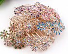 1pcs Fashion Gold Plated Flower Crystal Flower Hair Comb