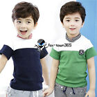 Summer Baby Child Kids Boys Stripe Collar Neck Badge Short Sleeve T-Shirt 2-7Y