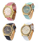 New Fshion Women Faux Leather Geneva Roman Numerals Analog Quartz Watch Ornate