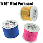 "Micro Paracord 1/16"" (2mm) 110lb Tensile Strength 100 Foot Spools Various Colors"