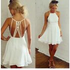 Sexy Women/Lady White Charming Sleeveless Hollow-out Chiffon Cocktail Dress LJ