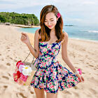 One Piece Floral Skirted Swimsuit Swimwear Tankini Top with and Attached Bottom