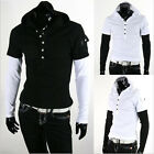 FM Sexy Men's Stylish Short-Sleeved Hoodie Pullover Cotton Casual T Shirts CAJJL