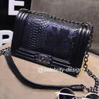 bg16 Celebrity Style Python Pattern Square Box Chain Shoulder Strap Bag
