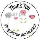 round label printing - PRETTY FLOWERS IN A ROW - THANK YOU STICKER LABELS - LASER PRINTED