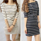 Fashion Women Slim Bottom Stripe Hit color Autumn Sweater Mini Dress Ornate