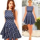 FREE P&P  VINTAGE RETRO ROCK N ROLL 1950S POLKA DOTS SWING PINUP PARTY TEA DRESS