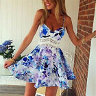 Sexy Women Ladies Backless Floral Summer Beach Dress Mini Bodycon Party Dress
