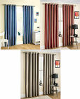 Henley Striped Modern Pair Ring Top Fully Lined Curtains. In Blue, Red & Silver