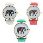 Fashion Geneva Women Elephant Pattern Leather Analog Quartz Dial Watch Ornate