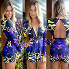 New Fashion Sexy Women Deep V Neck Long Sleeve Floral Rompers Jumpsuit Shorts