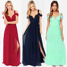 Summer New Sexy Women V-Neck ChiffonParty Ball Gown Off Shoulder Side Slit Dress