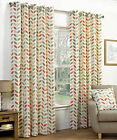 Mocha / Orange Ring Top Quality Pair Of Curtains With Floral Leaf Modern Pattern