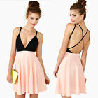 Sexy Pink Women Strapless Backless Cross Cocktail Party Mini Dress A+