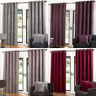 Velvet Ring Top Eyelet Quality Ready Made Lined Curtains. Grey Heather Latte Red
