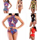 Multi Color Sexy High Waist Halter Bandage Women Monokini Bikini Set Swimwear