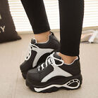 Women's Fashion Platform Skateboard Lace Up Sneakers Ankle Boots Creepers Shoes