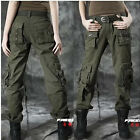 News Casual Womens Cargo Military Combat Army Green Pockets Dance Pants Outdoor