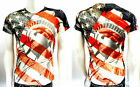 Men's TRUE ROCK multicolor print red blue white liberty V-neck T-shirt  Acid-803