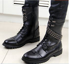 Mens Stylish Military Combat Studded Punk Lace Up Flat Motorcycle Biker Boots
