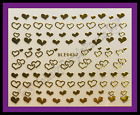 Nail Art 3D Decal Stickers Gold or Silver Hearts Valentine's Day BLE045J