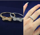 New Women Cute Fashion Jewelry 18K Gold Plated Bowknot Crystal 2 Color Ring R04