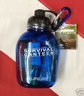 Survival canteen lightweight backpacking scuba dive hiking Lifeline blue GIFT