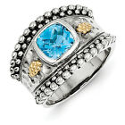 Blue Topaz Ring Bezel Set Band .925 Silver w/ 14K Accent Size 6 - 8 Shey Couture