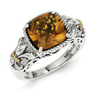 Whiskey Quartz Ring .925 Sterling Silver 14K Gold Accent Size 6 - 8 Shey Couture