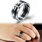 Classic triad cross Matching Ring Stainless Steel Men's Ring Silver Black