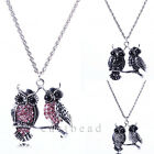 Cute Double-Owl Bling Antique Silver Rhinestone Silver Chain Necklace