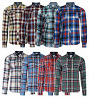 Lee Cooper New Men's Long Sleeve Cotton Check Shirt Red Green Blue Beige