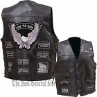 Mens Black Buffalo Leather Motorcycle Vest Waistcoat with 14 Gray Biker Patches