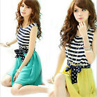 Ladies Summer Sexy  Striped Chiffon Mini Casual Party Dress CALO