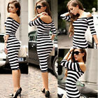 2015 New Summer Womens Backless Off-Shoulder Striped Party Wrap Casual Dress