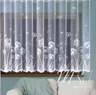 White Net Curtain with Dandelions pattern Ready to Hung Sold by Metres