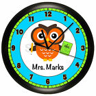 OWL SCHOOL TEACHER WALL CLOCK PERSONALIZED GIFT WALL DECOR TEAL ORANGE CLASSROOM