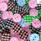10/50/200pcs Mixed Round Gingham Grid Resin Buttons Lots 11mm Sewing Craft Cards