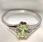 Genuine Faceted Oval Green Peridot .925 Sterling Silver Ring -- PD868