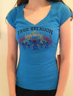 TRUE RELIGION T Shirt Slim Fit FIRE BIKES CRYSTALS Blue