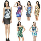 Sexy Womens Sleeveless Bodycon Dress Digital Print Summer Stretch Skirt LA CA 02