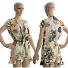 Summer Women Lady Floral Printed Sexy Deep V-neck Beach Jumpsuits  Rompers LJ